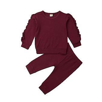 Newborn Autumn Winter Clothing Baby Sleep Clothes Set Ruffle Long Sleeve