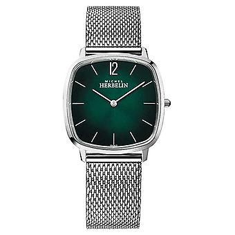 Michel Herbelin City | Steel Mesh Armband voor heren's | Groene wijzerplaat 16905/16B Horloge