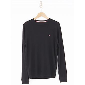 Tommy Hilfiger Cotton Silk Crew Neck Knit - Flag Black