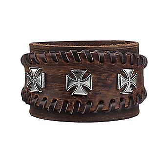 Punk Réglable Zinc Alloy Cross Double Bracelet en cuir authentique pour hommes