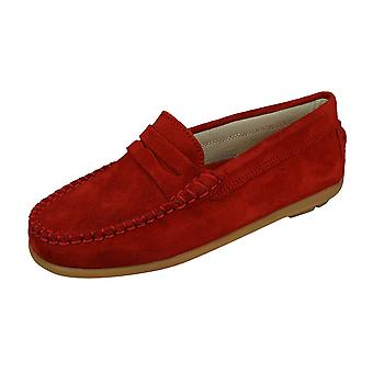 Angela Brown Hadley Kids Suede Leather Moccasins / Slip on Shoes - Rouge