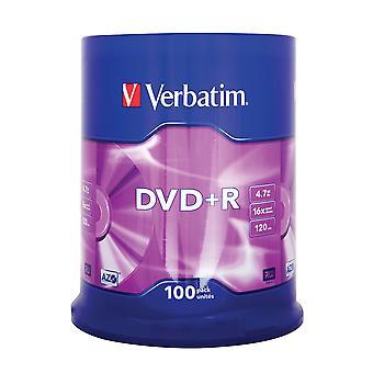 Verbatim 43551 4.7gb 16x dvd+r matt silver - 100 pack spindle single