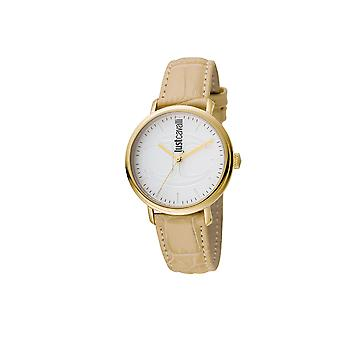 Just Cavalli JC1L012L0035 Womens Ivory leather stap/spare nylon strap watch with silver dial