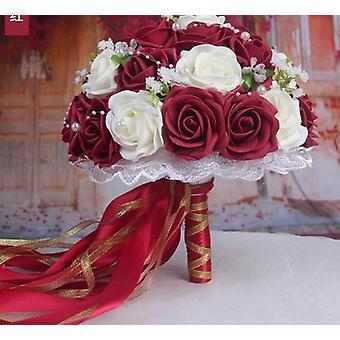 Bouquet di decorazione nuziale Fiore artificiale fatto a mano rosa sposa