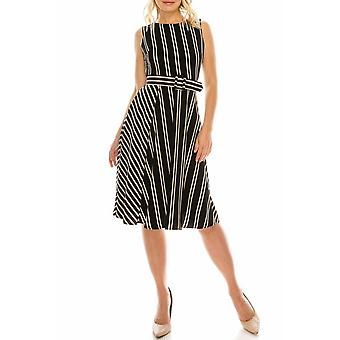 Striped Circle Skirt Dress With Matching Belt