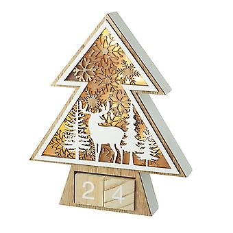 Wooden Light Up Countdown Tree