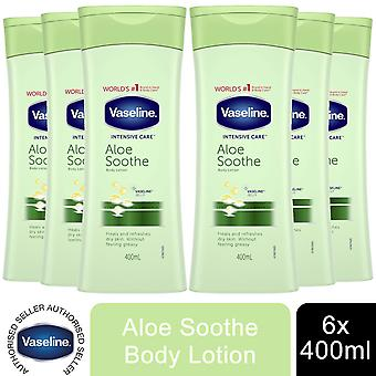 6x of 400ml Vaseline Intensive Care Healing Moisture Lotion, Aloe Soothe