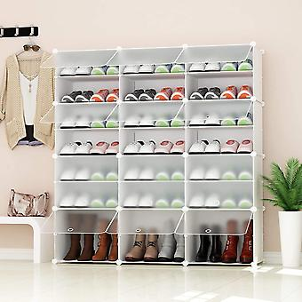 JOISCOPE PREMAG Portable Shoe Storage Organizer Tower, White with transparent doors