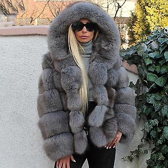 Women Real Fox Fur Coats With Hood Patchwork
