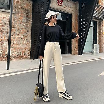 Jeans à jambes larges printemps automne, Femme's Taille haute, Pantalon denim Retro Loose,