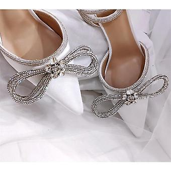 Runway Style Glitter Rhinestones Pumps Crystal Bowknot Satin Summer Shoe