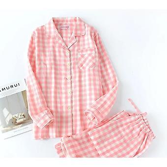 Hommes et femmes Manches longues Pyjamas Plaid Leisure Long Shirt Sleepwear Set
