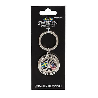 Chaveiro Souvenir Spinner Bandeira Suécia EUA