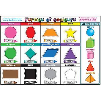 """Smart Poly Francés Immersion Chart, 13"""" X 19"""", Formes Et Couleurs (Formas y Colores)"""