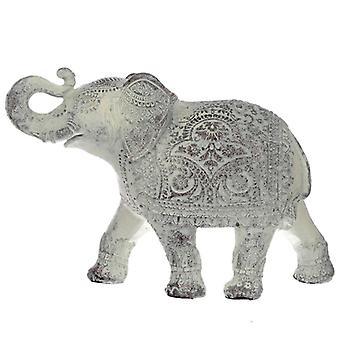 Elefante médio branco escovado tailandês decorativo