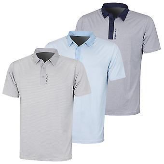 Stuburt Golf Mens 2021 Otham Pinstripe Breathable Wicking Summer Golf Polo Shirt