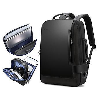 Modern vattentät ryggsäck med USB-laddning och bagagerem (svart 15,6 tum)