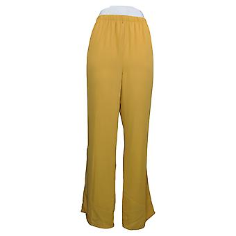 Antthony Women's Pantalones Pull On Lined Chiffon Straight Leg Yellow 707925