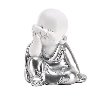 Hestia White & Silver Buddha - Hand On Chin