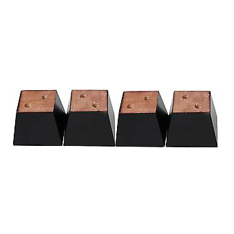 4 PCS Black Pine Trapezium Sofa Feet Chair Table Bed DIY 3.15x3.15x2.36 inch