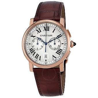 Cartier Rotonde Silver Sunday Dial 18kt Pinks Gold Men's Watch W1556238