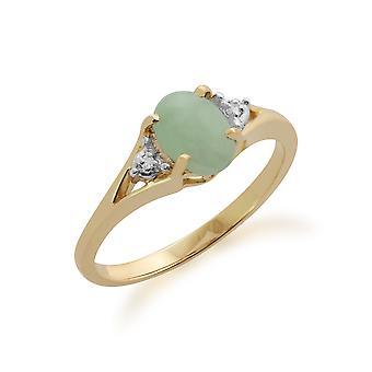 Gemondo 9ct oro giallo 0,94 ct Green Jade & Anello diamante