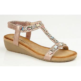 Cipriata Lia Ladies Ankle Strap Sandals Rose Gold