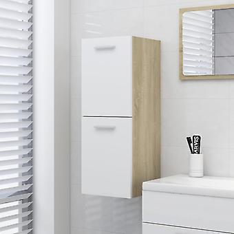 vidaXL Badezimmerschrank Weiß und Sonoma-Eiche 30x30x80 cm Spanplatte