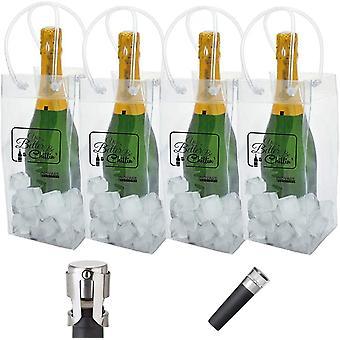 HanFei - 4 Stück wiederverwendbare auslaufsichere Flaschenkühltasche (transparente Weinkühltaschen,