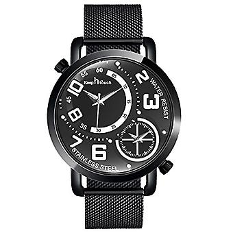 SUPBRO Minimalist black quartz men's watches with black mesh strap(4)