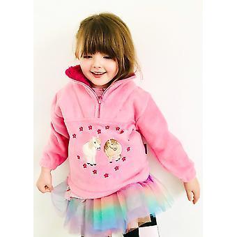 Kinder roze pony's & bloemen fleece trui