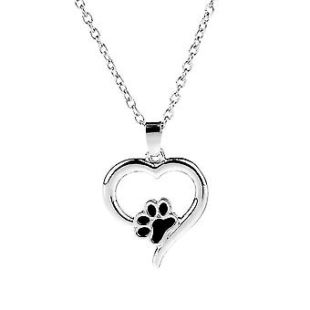 Women Necklace Pet Dog Claws Hollow Heart Footprints Alloy Dripping Oil Alloy Pendant For Wedding