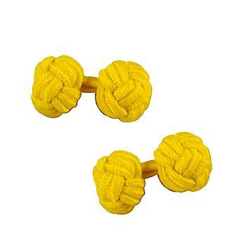 Krawatten Planet Bright Yellow Elastic Knot Manschettenknöpfe