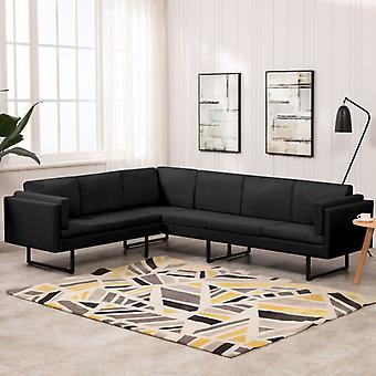 vidaXL kulma sohva musta kangas