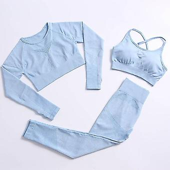 Yoga set gym clothing track suit high waist pants sports bras for women