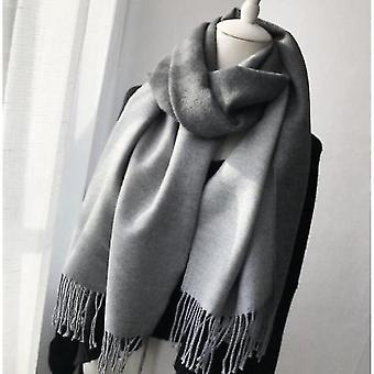 Double-sided Solid Color Dual-purpose Bib Mid-length Thick Warm Shawl(Grey)