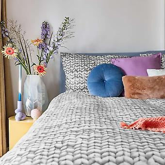 Snurk Twirre Knitted Print Cotton Bedding In Cool Grey