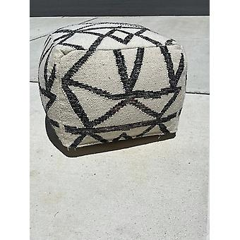 Spura Home Hand Knitted White Geometric Contemporary Wool Soft Seating Pouf