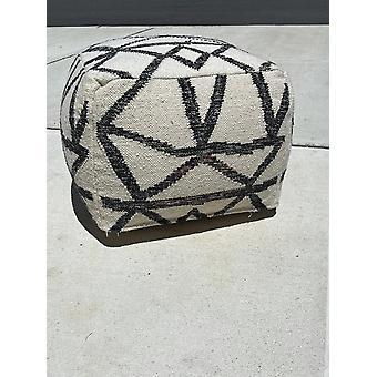 سبورا الصفحة الرئيسية اليد محبوك الأبيض الهندسي المعاصر الصوف لينة الجلوس بوف