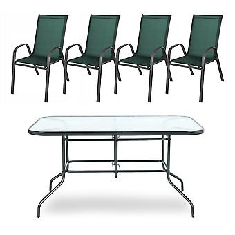 Garden table set green - with 4 chairs