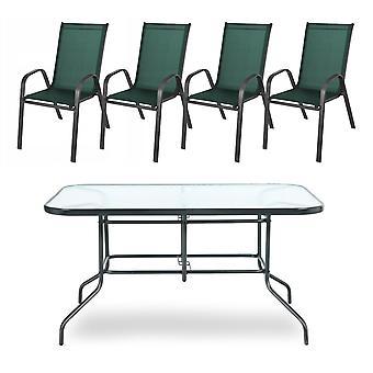 Puutarhapöytä asetettu vihreäksi - 4 tuolia