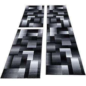 Bettumrandung Designer Velour Teppich Kariert 3 teilig Läuferset Schwarz Grau