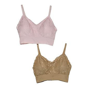 Rhonda Shear 2-Pack Lace Leisure Bra With Removable Pads Brown 715472