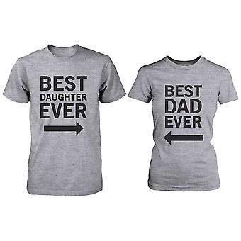 Matchende grå T-Shirts sæt For far og datter - bedste far / Beast datter