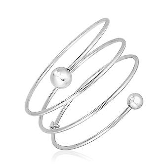 Sterling Silver 7 1/4 inch Multi Wrap Bangle with Polished Spheres