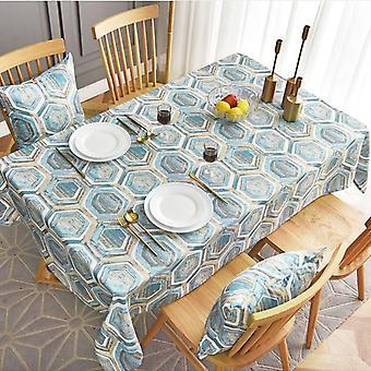 """מפת קפה גיאומטרית בסגנון נורדי בגודל 60 ס""""מ עם מפת קפה מלבנית (כחול בהיר)"""