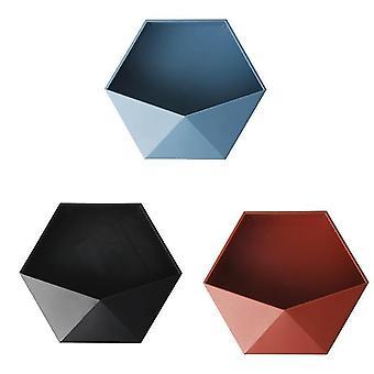 Étagères murales hexagonales géométriques sans poinçon de style nordique (3 assorties)