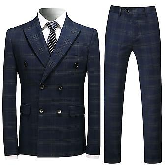 Homemiyn Costume à damred à double poitrine pour hommes Costume mince décontracté d'affaires trois pièces (haut + gilet + pantalon)
