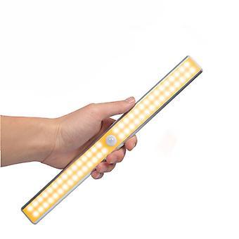 60led Double Row Infrared Sensor Intelligent Night Light Cabinet Light Usb Charging Cabinet Light Toilet Strip Light Wireless, Usb Rechargeable, Magne