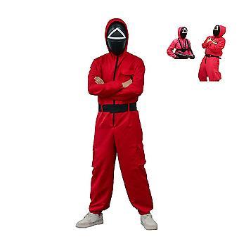 Unisex Rot Jumpsuits Halloween Cosplay Kostüm, Tintenfisch Spiel Kostüm